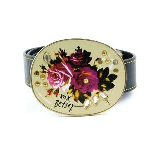Betsey Johnson Medium Black Leather Belt Floral